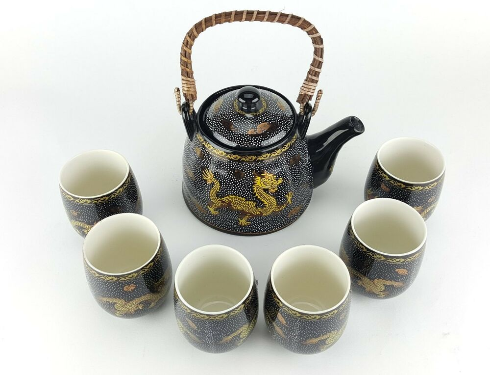 7pc ceramic gold dragon chinese tea set teapot strainer 6 cups in gift box ebay. Black Bedroom Furniture Sets. Home Design Ideas