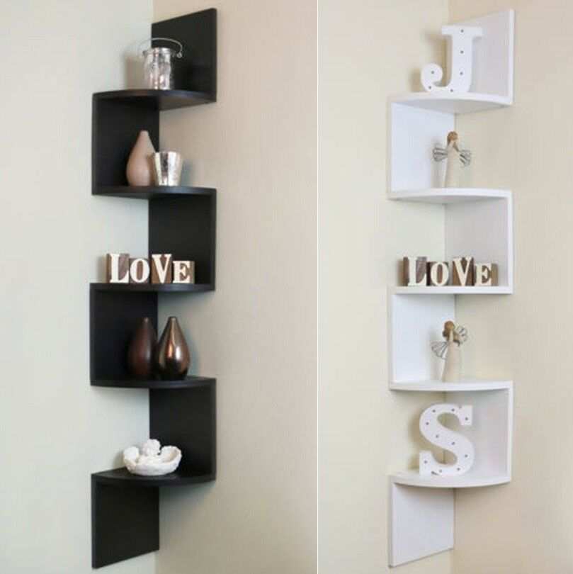 5 Tier Corner Shelf Floating Wall Shelves Storage Display