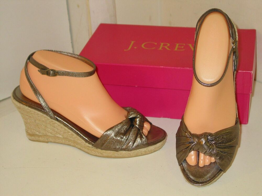 7752352cffb Details about J. Crew Amelia Silver   Pewter Gunmetal Gray Espadrille Wedges  Shoes Womens 10