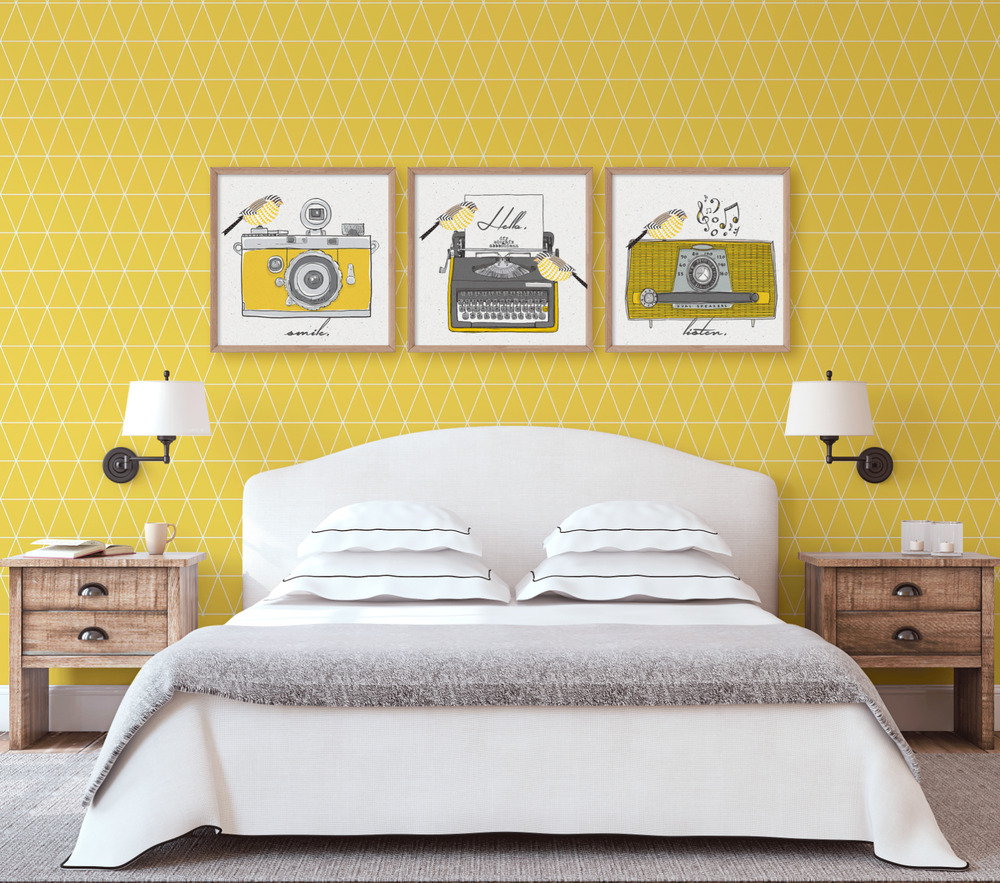 Set Of 3 Yellow Ochre Mustard Retro Wall Art Prints