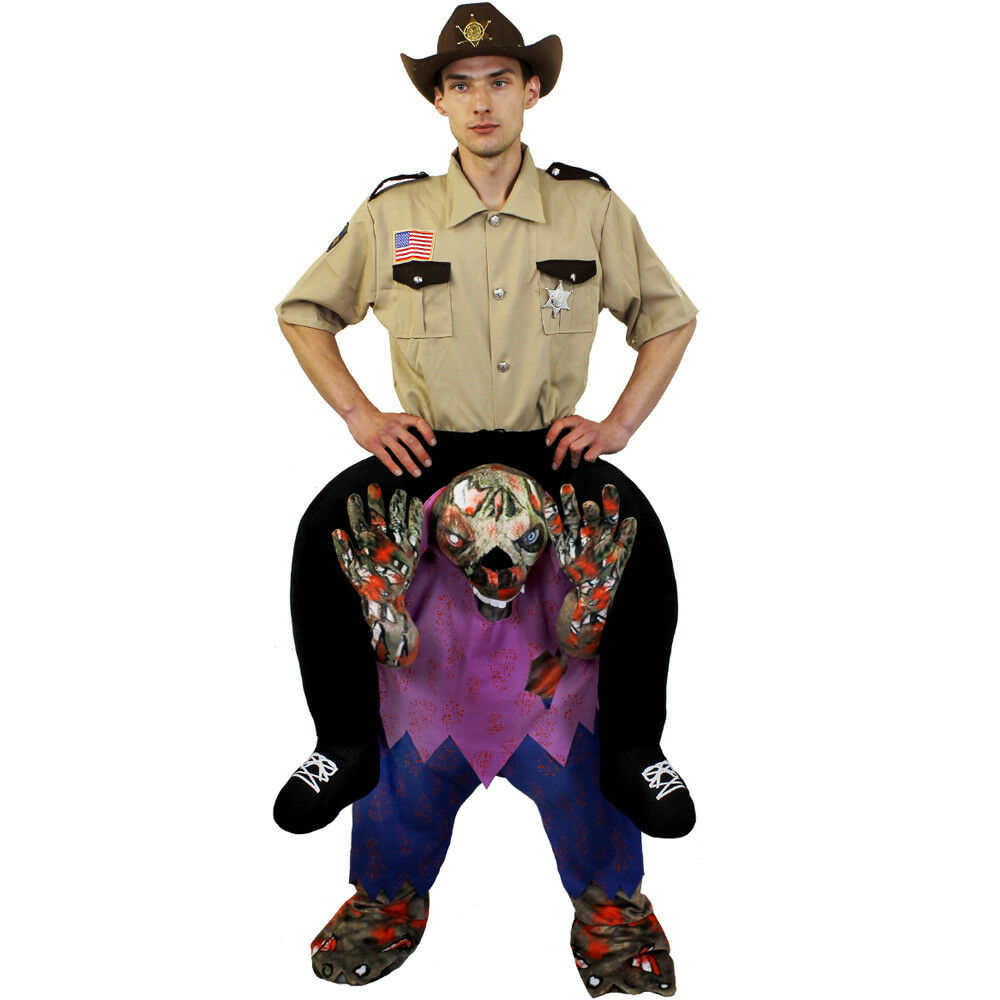 sheriff riding zombie pick me up halloween costume funny do fancy