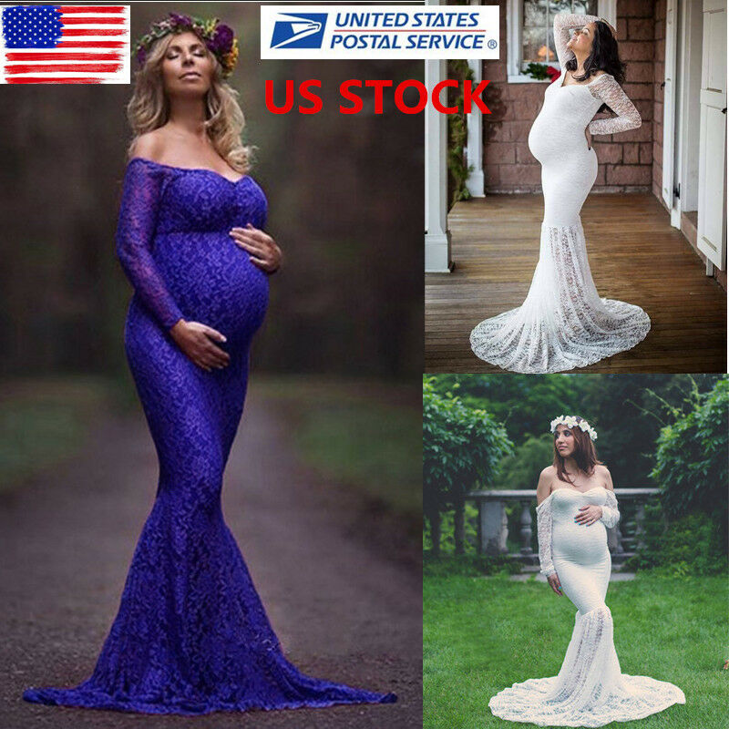 6df0df6345b99 Details about US Pregnant Womens Lace Off Shoulder Long Maxi Maternity  Dress Photography Props