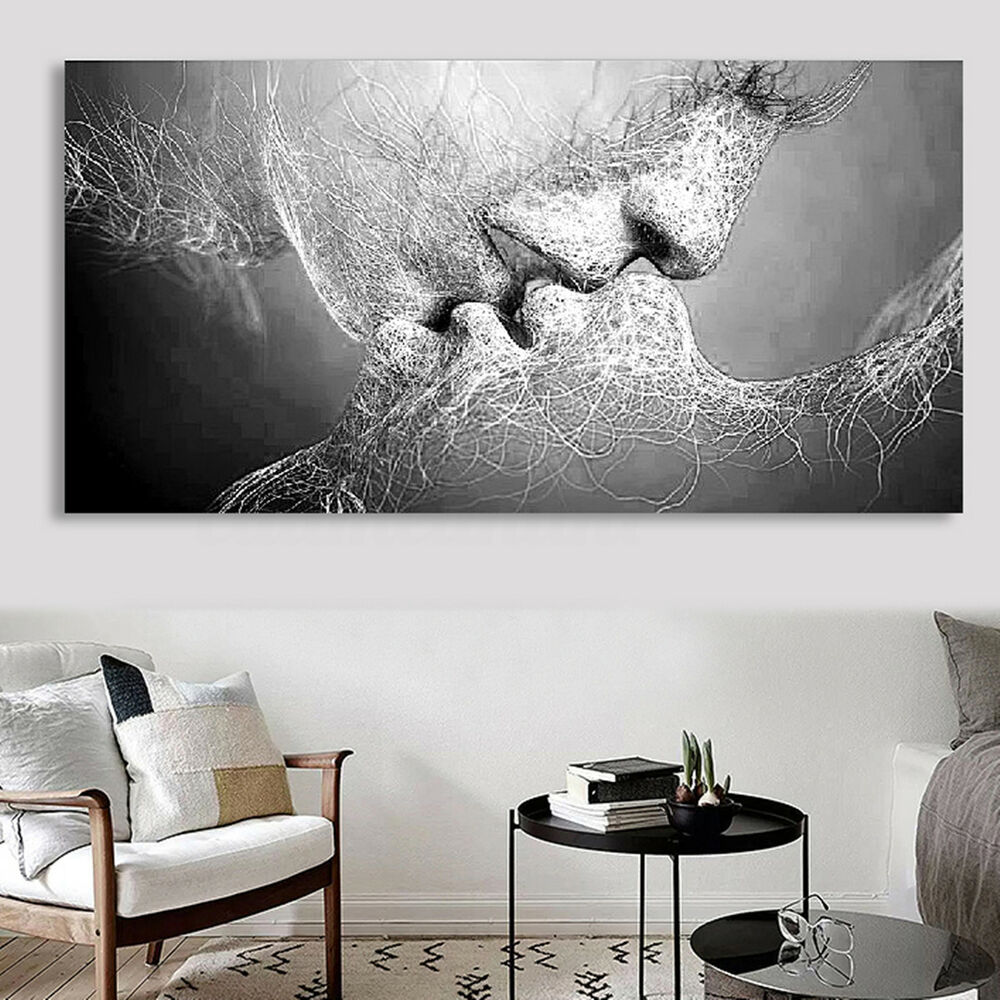 Black white love kiss abstract art canvas painting wall print picture decor uk ebay