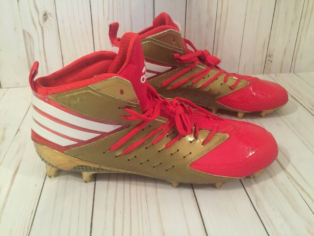 brand new 0a89c b6c80 Details about Adidas Freak x Kevlar Football Cleats Sz 12.5 AQ7190 Red Gold  49ers New