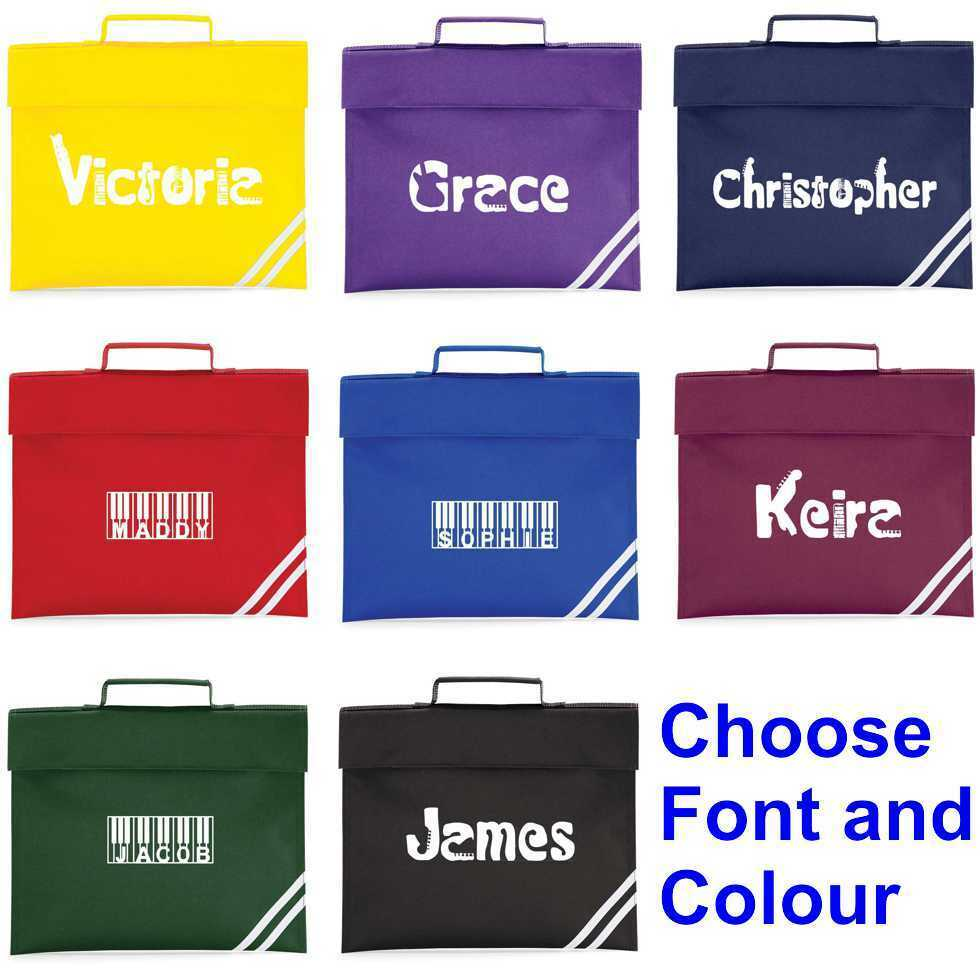 Details about Personalised Music Book Bag choose font and colour 5847cbc8c9daa