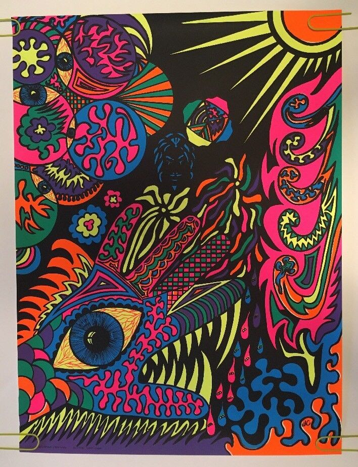Vintage Blacklight Poster Psychedelic Collage Hand Eye ...