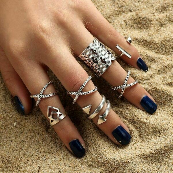 8Pcs/Set Silver Ring Set Boho Stackable Mid Midi Above Knuckle Ring Band