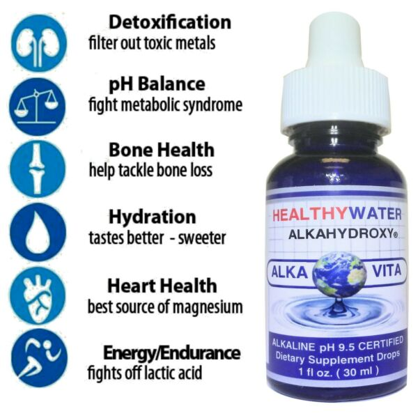 Alkaline Water Healthy OxyGen Drops ALKAVITA Stable 9.5 pH 9 Gallons CERTIFIED