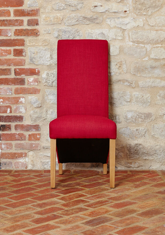 Baumhaus Oak Full Back Upholstered Dining Chair Red Berry Fabric