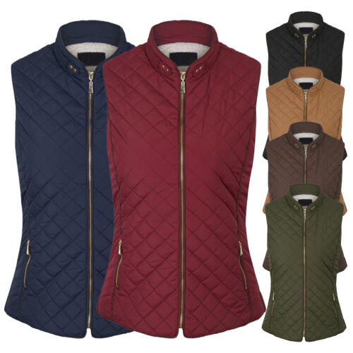 Women's Faux Fur Lined Quilted Padding Zip Up Vest  Jackets Coats (S-3X)