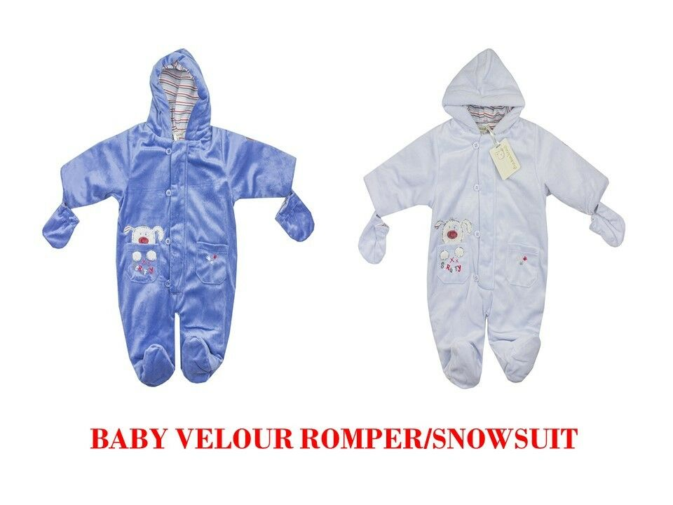 56312b0d55ed BABY BABIES BOYS BABALUNO LINED VELOUR ROMPER SNOWSUIT JACKET