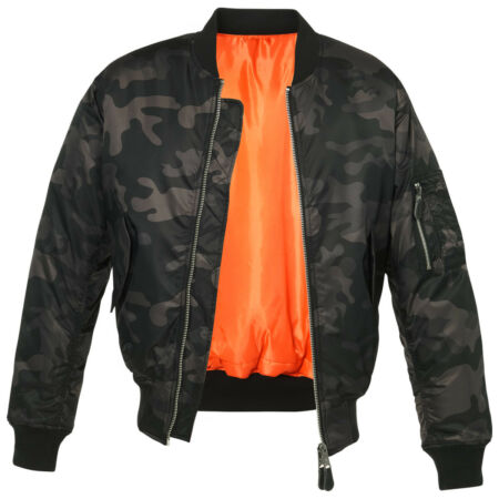 img-Brandit Tactical MA1 Mens Bomber Flight Jacket Security Police Coat Dark Camo