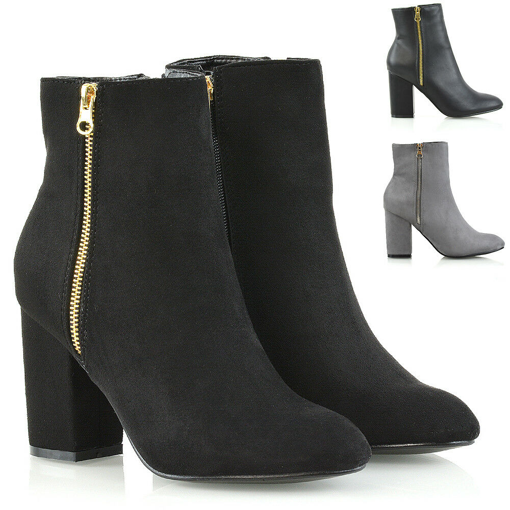Womens Ankle Boots Block Mid High Heel Boots Ladies Metal