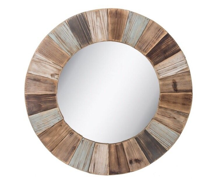 Large Rustic Colorful Round Wood Wall Mirror Shabby Chic Home Decor New Ebay