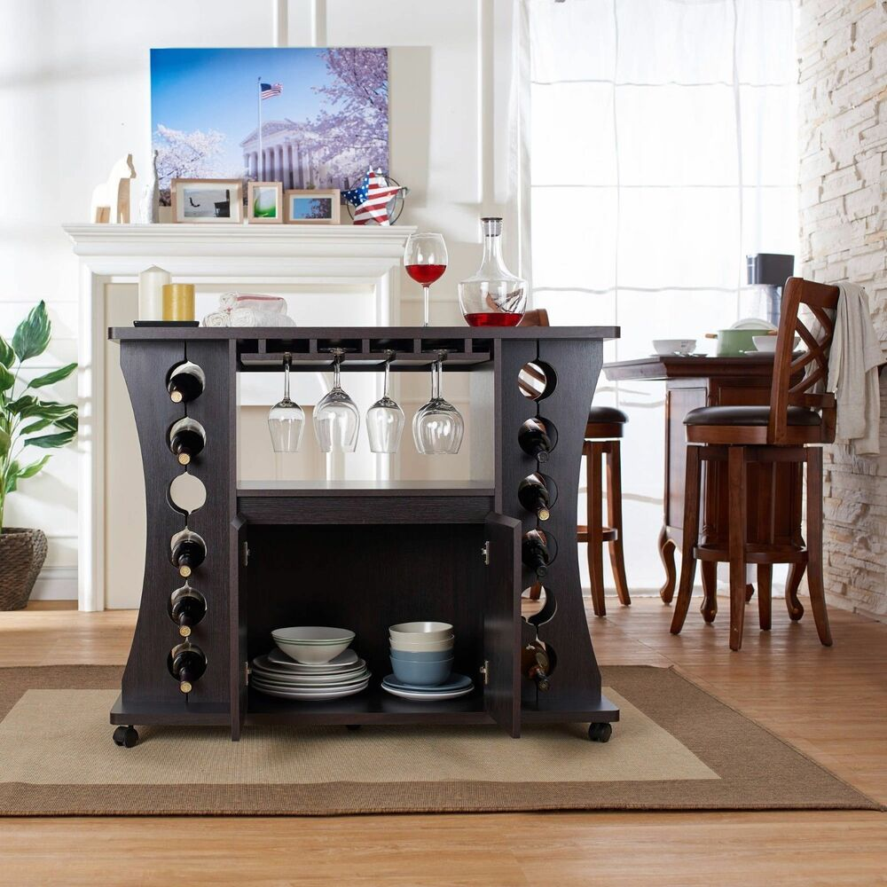 Home Bar Furniture Set Buffet Table With Wine Rack Servers