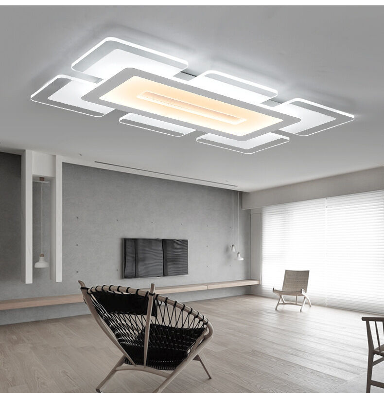 Light Filled Contemporary Living Rooms: Rectangular Acrylic Modern LED Ceiling Light Living Room