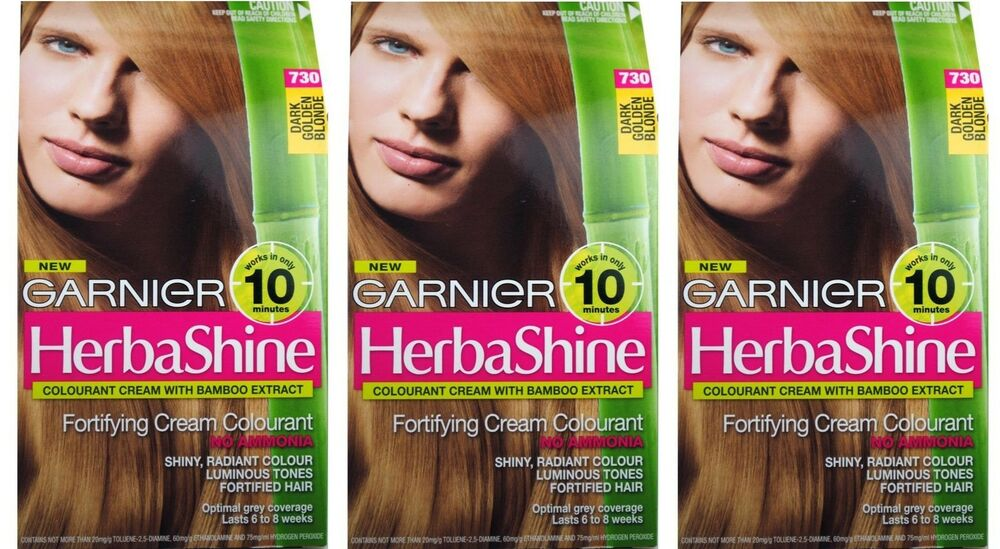 3 X Garnier Herbashine Hair Colour 730 Dark Golden Blonde 100 Brand
