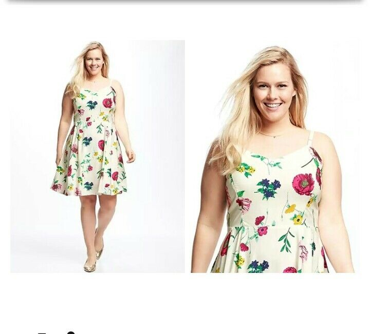 4bd2b179ec6 Details about WHITE OLD NAVY PRINT FIT   FLARE FLORAL SPAGHETTI STRAPS CAMI  DRESS SZ S