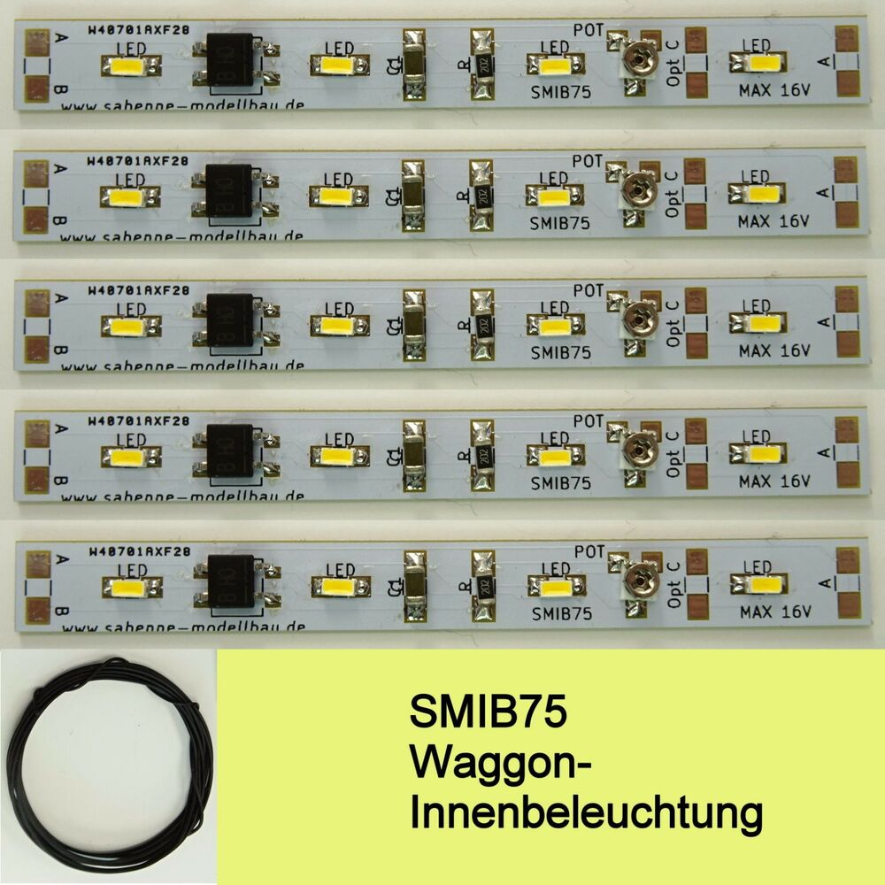 smib75 smd led waggon innenbeleuchtung 75mm warmwei. Black Bedroom Furniture Sets. Home Design Ideas