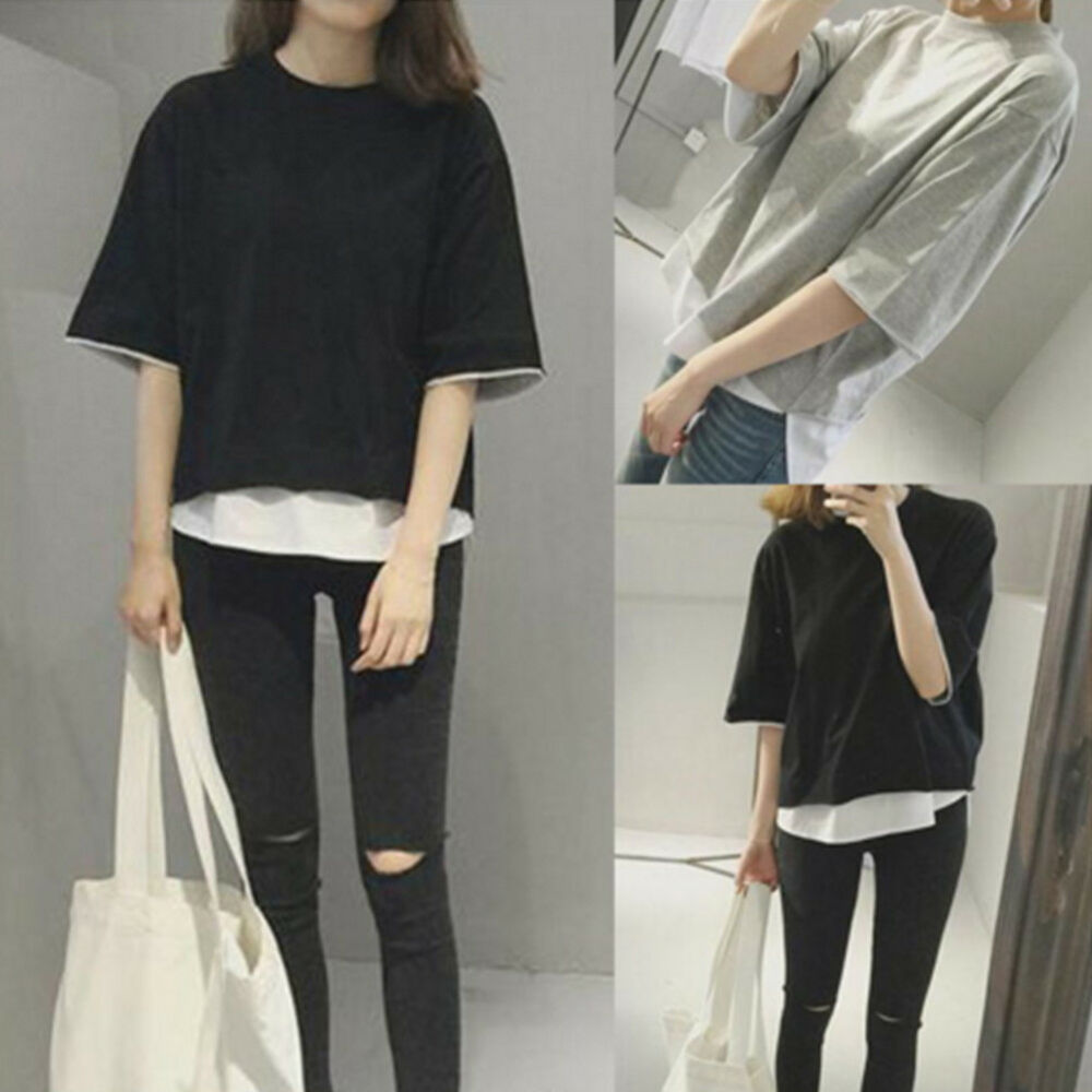 Korean Fashion Women Girls Casual Short Sleeve T Shirt Loose Blouse Tops Shirt Ebay