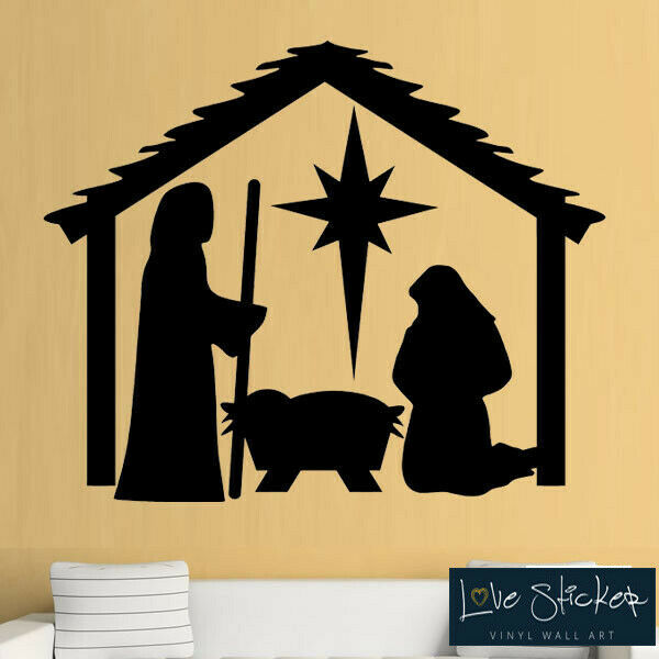 wall stickers christmas xmas crib nativity scene play school art