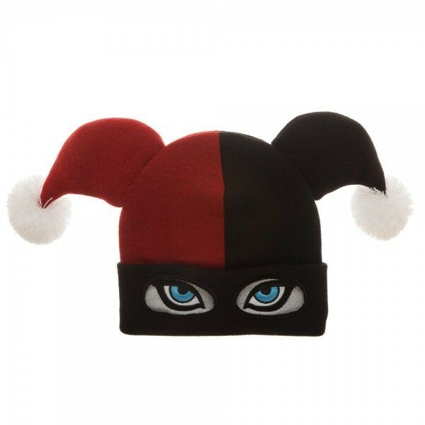f86146c2d61 Details about Harley Quinn Big Face Beanie Hat Cap Jester Eyes Poms DC  Comics Red Black NEW