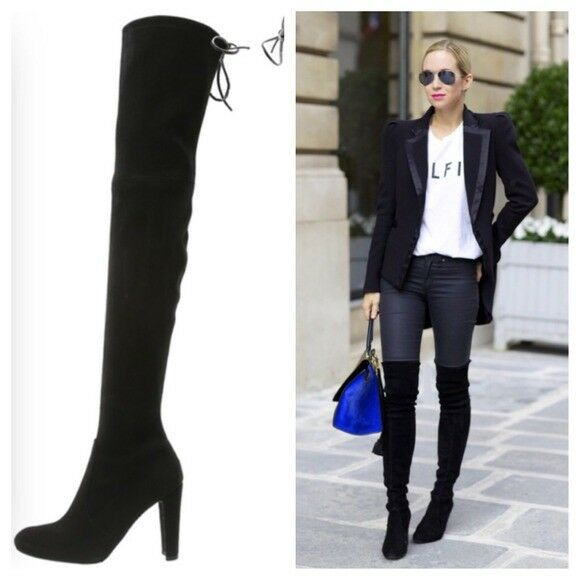 e582cfa7994 Details about Stuart Weitzman  Highland  Over the Knee Boot Black 6 6.5 7  7.5 8 8.5