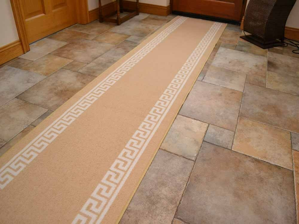 Beige Non Slip Rubber Backed Hall Runners Extra Long