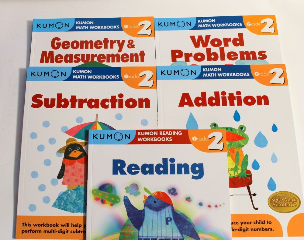 KUMON Workbooks Grade 2 Set: Math + Reading (5 books) --FREE ...
