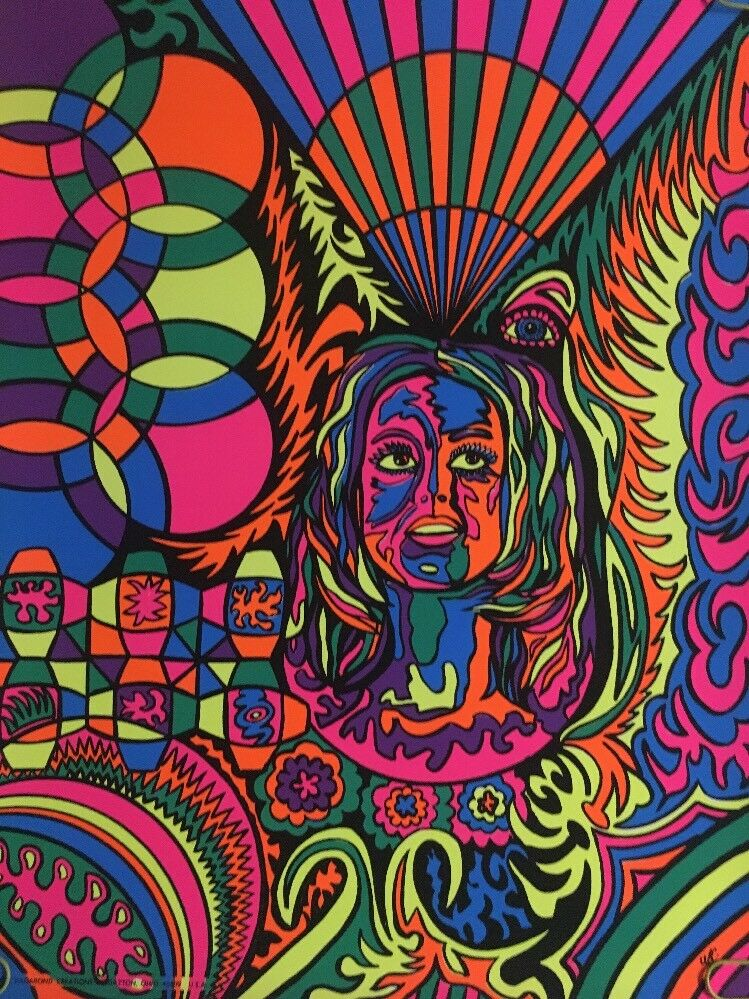 Vintage Blacklight Poster Woman Hippy Long Hair ...