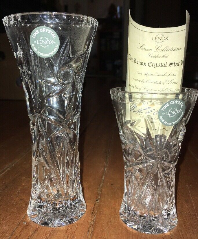 Set Of 2 Lenox Full Lead Crystal Star Bud Vases 6 4 Czech