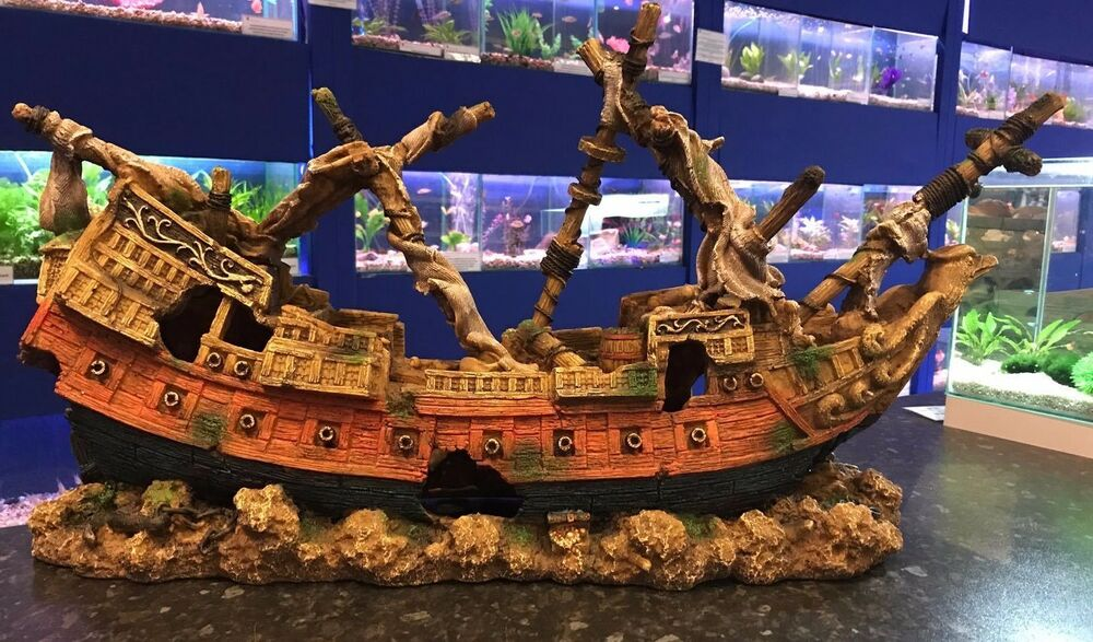 Xxl eagle pirate ship shipwreck ruin very large aquarium for Fish tank pirate ship