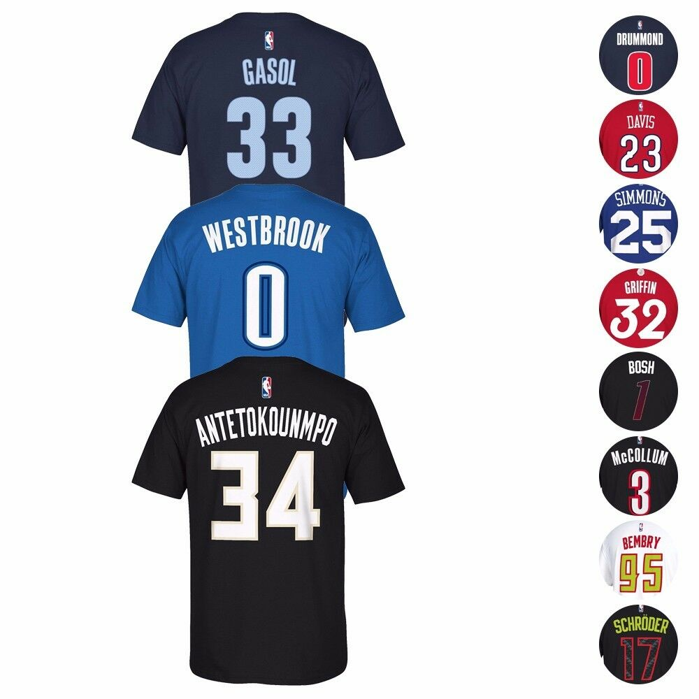 5d3d6c5d19b NBA Adidas Name & Number Player Jersey Team Color T-Shirt Collection Men's  | eBay
