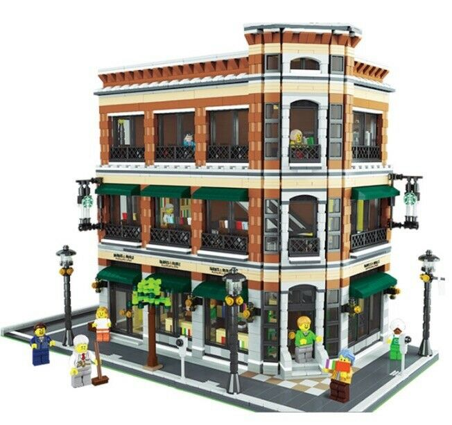 Lego moc modular bookstore and starbuck custom model for Lego digital designer templates