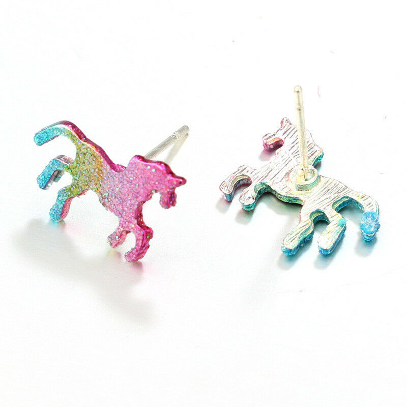 62ab84b93 Unicorn Sparkle Glitter Stud Earrings Rainbow Colour sparkle Gift Jewellery  | eBay
