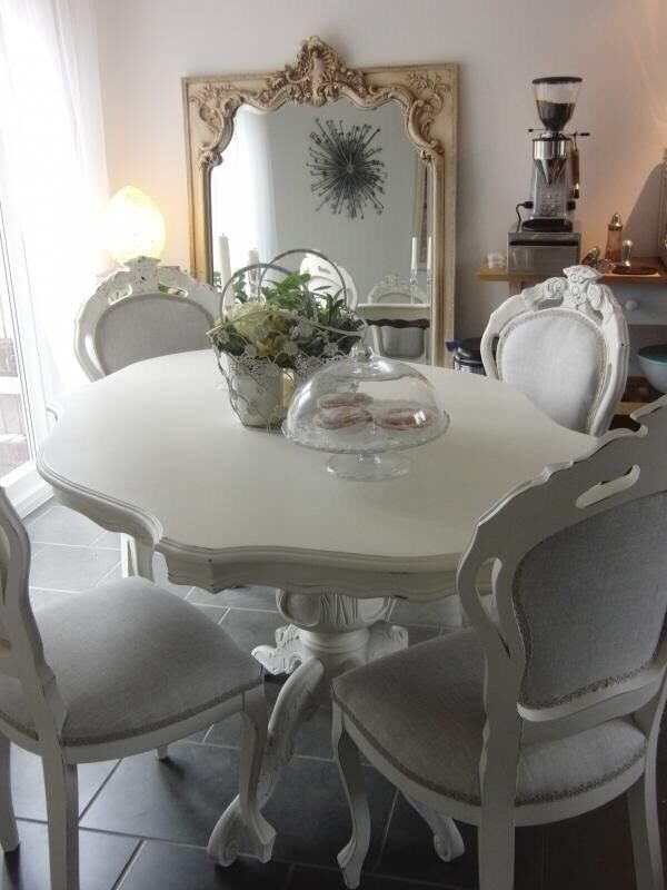 shabby chic french style dining table and 6 dining chairs - French Dining Table