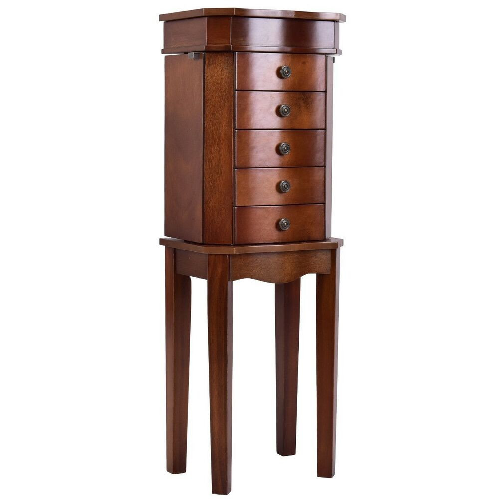 Merveilleux Details About Armoire Storage Free Standing Jewelry Cabinet With 5 Drawers  And Mirror Useful