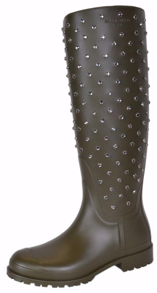 4fd00105011 Details about NEW YSL Yves Saint Laurent Green Crystal Studded Tall Rubber  Rain Boots Shoes