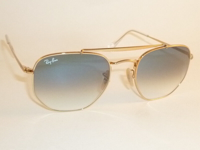0990868a89e8c Details about New RAY BAN Marshal Sunglasses Gold Frame RB 3648 001 3F  Gradient Blue Lens 54mm