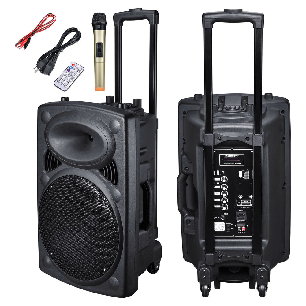 "Portable Rolling 12"" Powered DJ Party PA Speaker W/ Bluetooth USB Remote Control 640671052528"