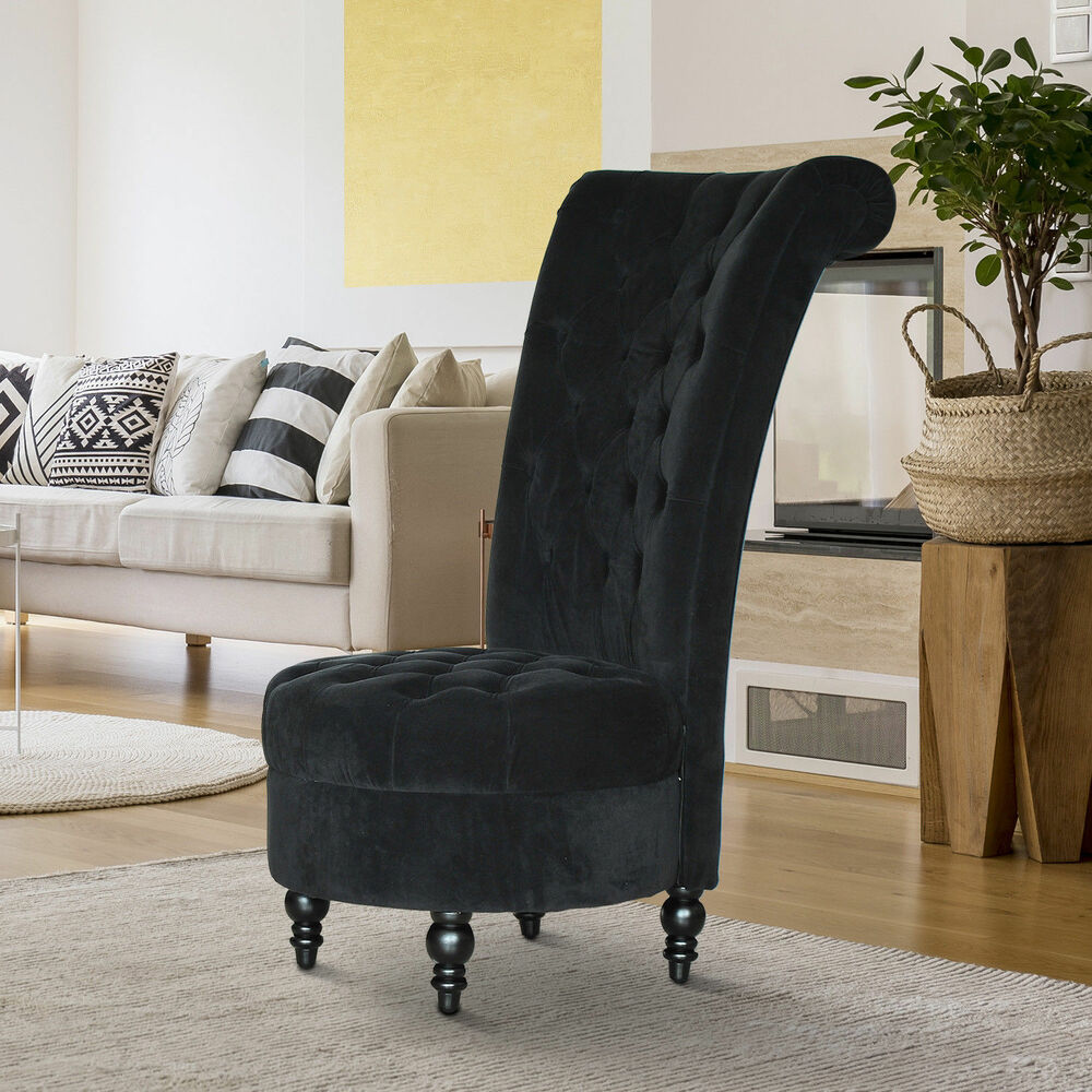 Homcom 45 Tufted High Back Velvet Accent Chair Living Room Soft Couch Black Ebay