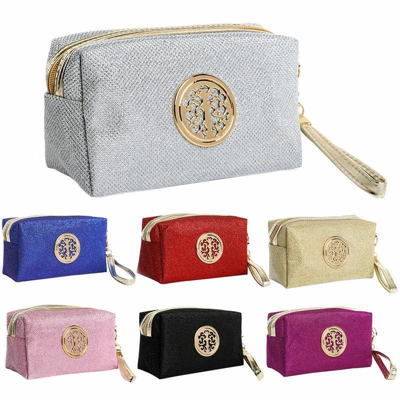 b261c1e5ee Fancy Vanity Bag Pouch With Metal Stylish Design Makeup Toiletry Handle  Case New