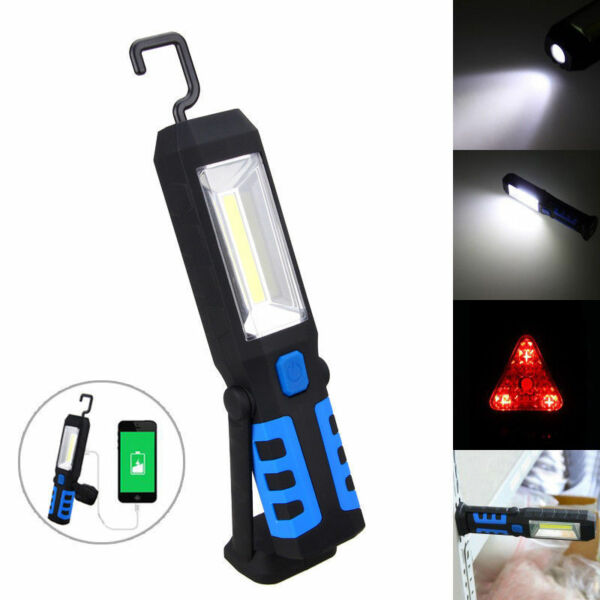 3W COB LED Work Light Lamp USB Rechargeable Magnetic Flashlight Torch with Hook