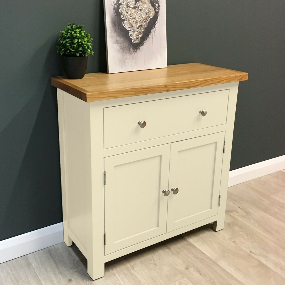 Painted Wooden Sideboard ~ Cotswold cream painted oak sideboard mini cupboard