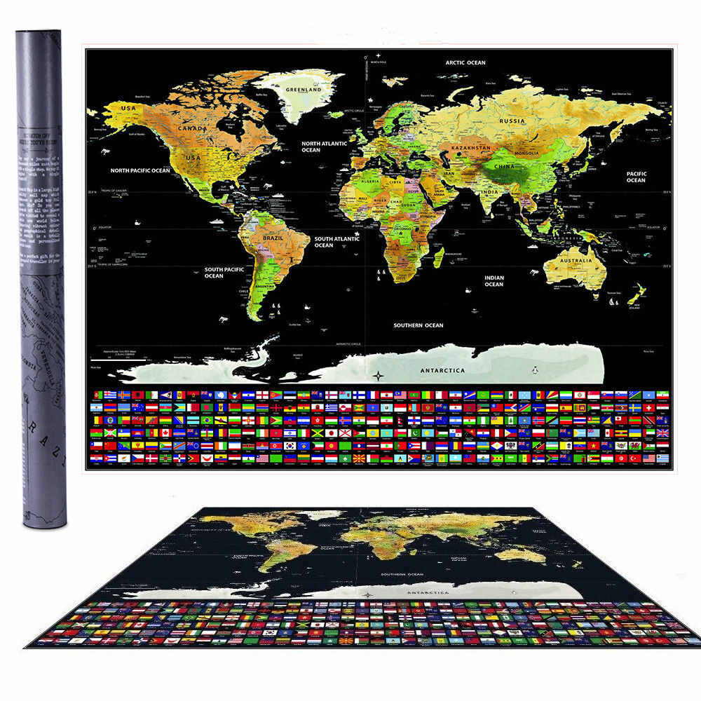 scratch off world map poster with us states and country flags magnifier ebay. Black Bedroom Furniture Sets. Home Design Ideas