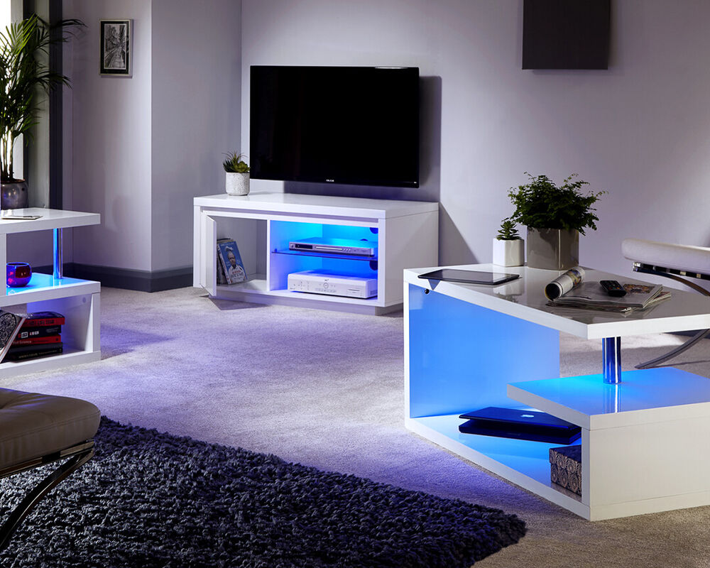 Polar White High Gloss Furniture With Led Lights Coffee