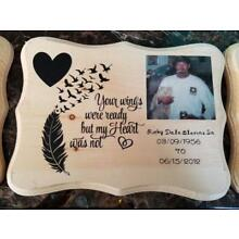Memorial Plaque With Memory Photo Personalized Keepsake Gift Loss Funeral