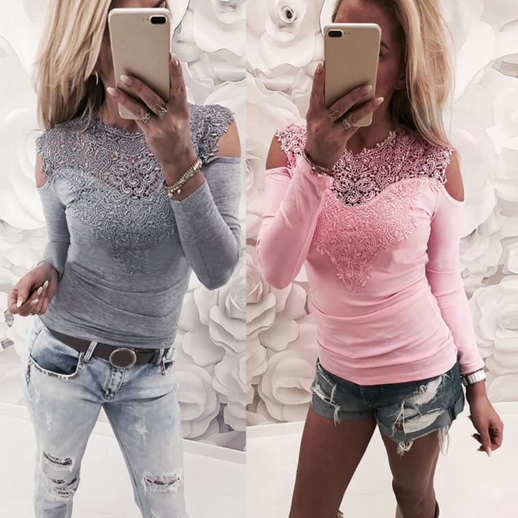 c4826c60f6b Details about Women Sexy Lace Sweet Long Sleeve Solid Color Slim Fit Off  Shoulder Tops Blouse
