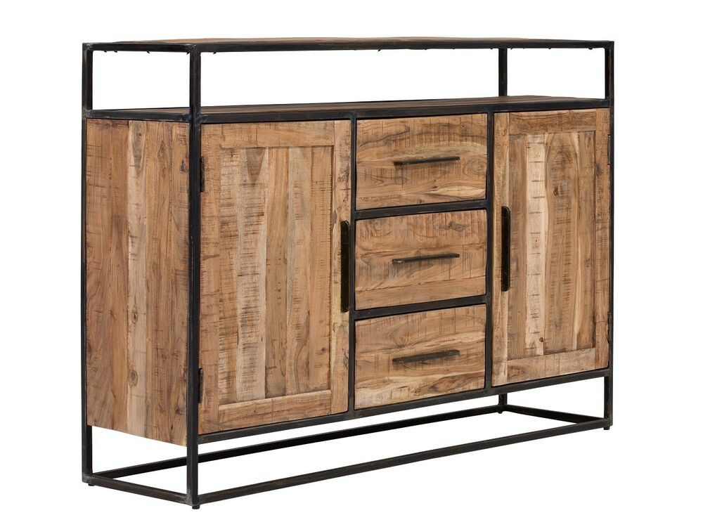 sideboard kommode 2 t ren holz massiv akazie hell wohnm bel metall oklahoma ebay. Black Bedroom Furniture Sets. Home Design Ideas