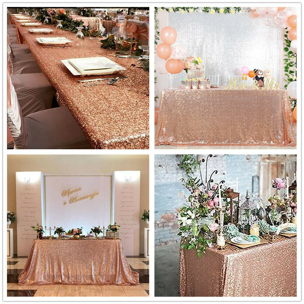 Rose Gold Sequin Tablecloth Sparkly Table Overlay Wedding